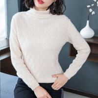 秋冬新款纽花羊毛衫女短款堆堆领套头毛衣韩版学生百搭打底针织衫