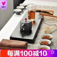 天籁|黑陶茶具套装家用简约复古储水陶瓷茶盘日式功夫茶具干泡盘 12件