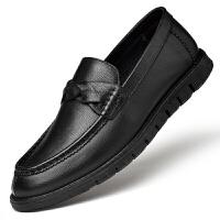 纯皮棕色男士圆头平底鞋不系带青年一脚蹬休闲男鞋子