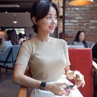 2018新款新款韩版修身针织短袖女夏T恤套头紧身针织衫打底上衣潮