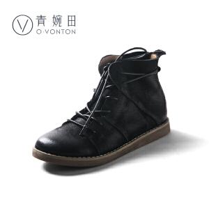 青婉田复古黑色真皮ulzzang马丁靴女系带平底个性女靴子春季2018