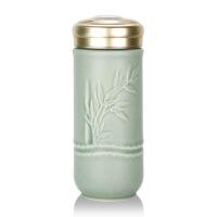 乾唐轩活瓷杯富贵金竹随身杯双层创意陶瓷水杯杯子带盖唐乾乾