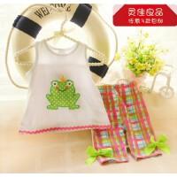 可爱青蛙套装 夏季套装婴幼儿夏装衣服 女童宝宝纯棉背心中裤套装