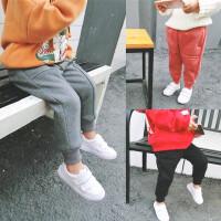 韩版17冬装新款男女童保暖休闲长裤子女宝宝百搭加绒棉卫裤A6-A10