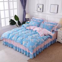 床裙款床罩四件套裙式带荷叶花边1.5米1.8m2床上被套