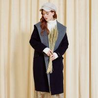 美特斯邦威羊毛大衣女双面呢连帽风衣气质中长款外套冬装新款