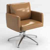 电脑椅家用办公椅简约现代休闲沙发转椅美式欧式椅子北欧网吧座椅 铝合金脚 固定扶手