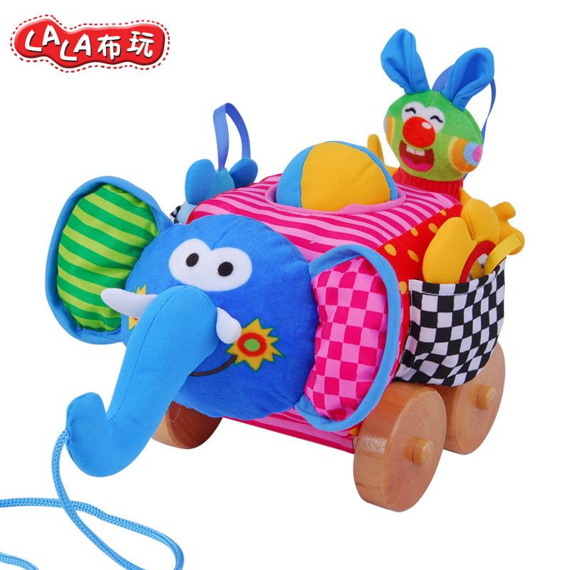 LALABABY/拉拉布玩 拖拉学步玩具车婴儿手绳拉线1-2-3岁 木轮大象车