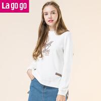 【秒杀价107】Lagogo2019冬新款时尚印花立领短款白色卫衣潮女套头前短后长宽松