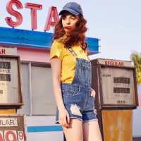【1件2.5折到手价:61.3】美特斯邦威夏季新款牛仔短裤女百搭背带裤破洞潮流韩版学生