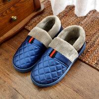 女士棉拖鞋皮面包跟棉拖鞋女皮面防水包跟居家厚底室内防滑男士棉鞋冬季保暖情侣家用ljj