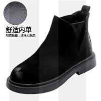 马丁靴女英伦风2018新款韩版百搭平底加绒靴子女短靴秋冬切尔西靴SN2271 黑色 单里