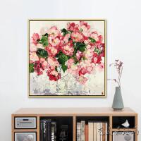 花卉油画手绘现代简约抽象厚油装饰挂画玄关餐厅走廊定制ins风 180×180带框 单幅