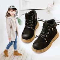 女童短靴冬季2018新款靴子加绒男童鞋英伦风真皮中大童儿童马丁靴
