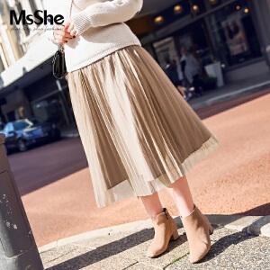 MsShe大码女装2017新款秋装200斤胖mm显瘦弹力网纱百褶裙M1740539
