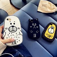 iphone6plus手机壳苹果7plus防摔全包硅胶呆萌动物保护套6S软壳 i6/6s(4.7) 白色海豹