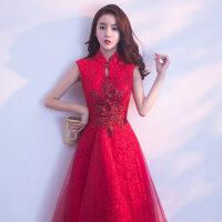 敬酒服新娘2018春季新款结婚晚礼服红色回门连衣裙端庄大气女显瘦 酒红色
