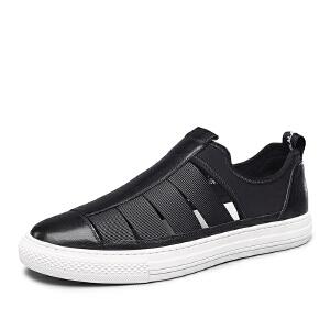 【满减到手价:198】意尔康男鞋 夏季新款镂空透气韩版男士凉鞋