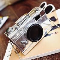 2018个性潮照相机包包秋季新款女包欧美时尚小包链条单肩包斜挎包 银色 小号