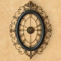 欧式钟表挂钟客厅 铁艺创意壁钟复古时钟装饰钟 挂表静音个性 20英寸