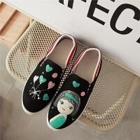 新款韩版儿童布鞋卡通中学生平底帆布鞋一脚蹬懒人鞋中大童休闲鞋SN7846