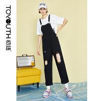 初语新款韩版水洗大破洞字母印花黑色宽松背带牛仔裤女
