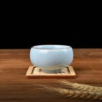 汝窑天青开片可养汝瓷功夫茶杯青瓷茶杯哥窑茶杯冰裂釉纯手工茶具