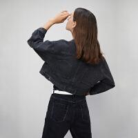 初语2020春装新款翻领复古港味设计感宽松水洗黑色短款牛仔外套