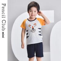 【2件2折价:45.8元,可叠券】铅笔俱乐部2020夏季新款男童套装小童短袖T恤短裤两件套