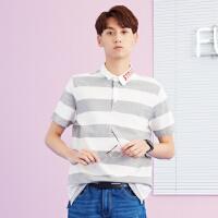 【满299减200】美特斯邦威 Polo衫男装2018夏季新款字母潮流韩版宽条纹短袖T恤9