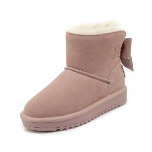 WARORWAR 2019新品YG29-S18-X26冬季欧美磨砂反绒牛皮真皮皮毛一体低底舒适女鞋潮流时尚潮鞋百搭潮牌雪地靴