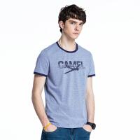 camel 骆驼男装 夏季新款圆领字母印花修身上衣 男青年休闲短袖T恤