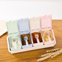 小麦秸秆调味瓶罐套装调味罐厨房用品分格调味盒调味料盐罐调料盒