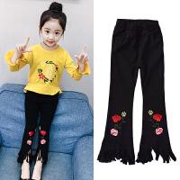女童牛仔裤春装新款韩版中大童儿童修身弹力刺绣喇叭裤长裤子