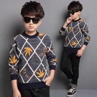 童装男童加绒加厚保暖上衣套头T恤冬季韩版中大童长袖儿童打底衫