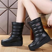 真皮雪地靴女2018新款加绒冬季厚底加厚防滑面包鞋防水皮面中筒靴SN4208
