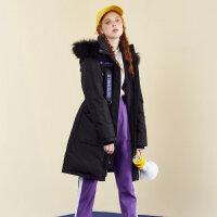 【5.16-5.17日抢购价:135】美特斯邦威羽绒服女个性收腰中长款羽绒衣显瘦潮外套2018冬装新款