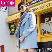 【两件5折后价404.5】Lagogo/拉谷谷2017年冬季新款时尚大衣GCDD239C39