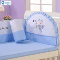 婴儿床上用品全棉七件套纯棉婴儿床围可拆洗床品套件a366 120*70