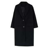 秋冬季女韩版茧型毛呢外套中长款加厚过膝毛呢子大衣 黑色