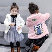 中小童装冬装新品韩版女童加绒毛毛衣猫头鹰连帽保暖外套B6-A4