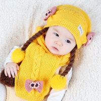 婴儿帽子秋冬季新生儿0-1岁女童公主婴幼儿毛线儿童宝宝帽假发帽