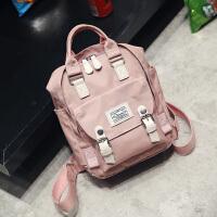 双肩包女日韩版帆布学生书包学院风防水旅行迷你小背包 迷你号粉色