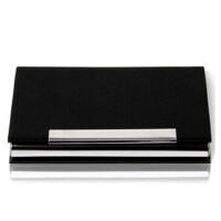 得力名片盒 男士 商务*金属皮革名片夹 名片收纳盒 7628 黑色