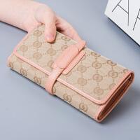 帆布钱包2018新款女士钱包女长款薄抽带三折配皮钱夹零钱包