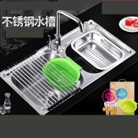 304不锈钢厨房水槽双槽 一体成型加厚手工洗碗池洗菜盆套餐 m7q