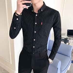 男装春季新款潮流条纹小方领休闲衬衫韩版衬衣商务个性25