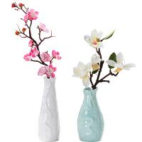 陶瓷花瓶摆件客厅插花餐桌装饰品现代简约创意手工陶瓷小花瓶 白色 白色高花瓶