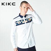 kikc长袖衬衫男2018秋装新款韩版印花白色时尚长袖衫衣bf风衬衫男