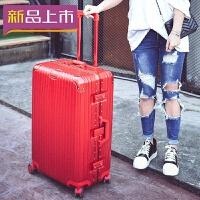 2018铝框拉杆箱PC海关锁行李箱万向轮20寸24寸26寸29寸男女托运箱硬箱 炫酷镜面 中国红 20寸